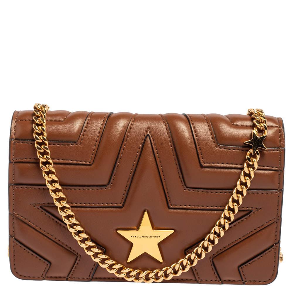 Stella McCartney Brown Faux Leather Stella Star Crossbody Bag