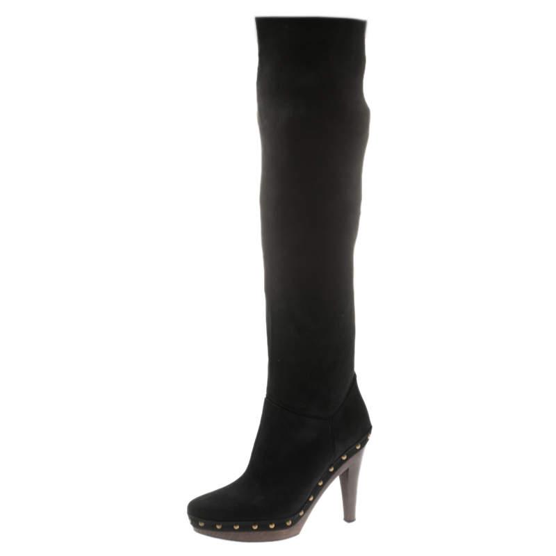 Stella McCartney Black Faux Suede Korda Studded Knee Length Boots Size 37