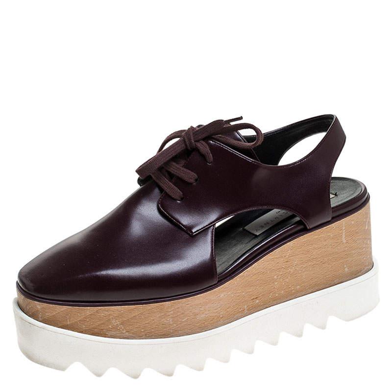 Stella McCartney Burgundy Faux Leather Elyse Cutout Platform Derby Size 36