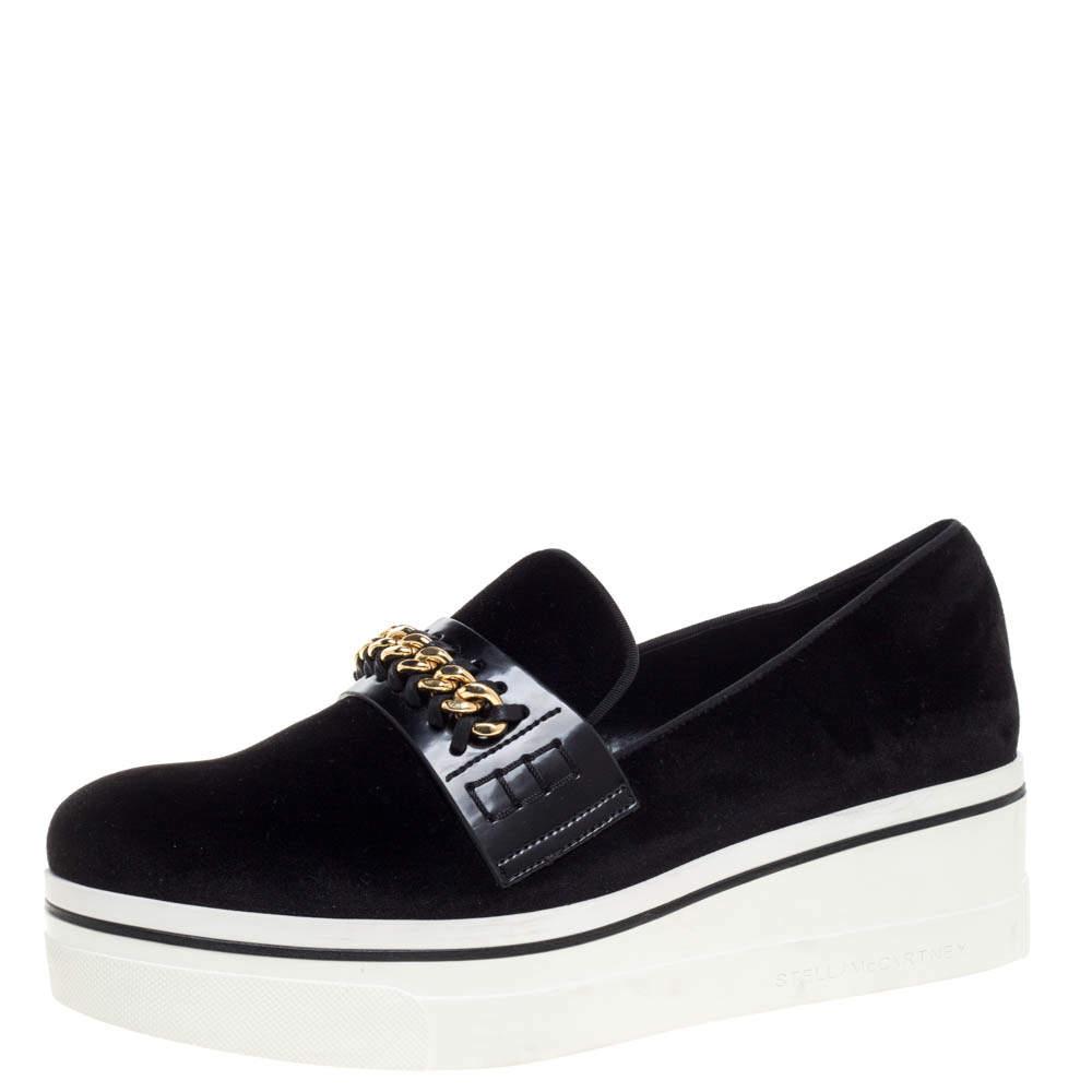 Stella McCartney Black Faux Suede Chain Embellished Platform Slip On Sneakers Size 41