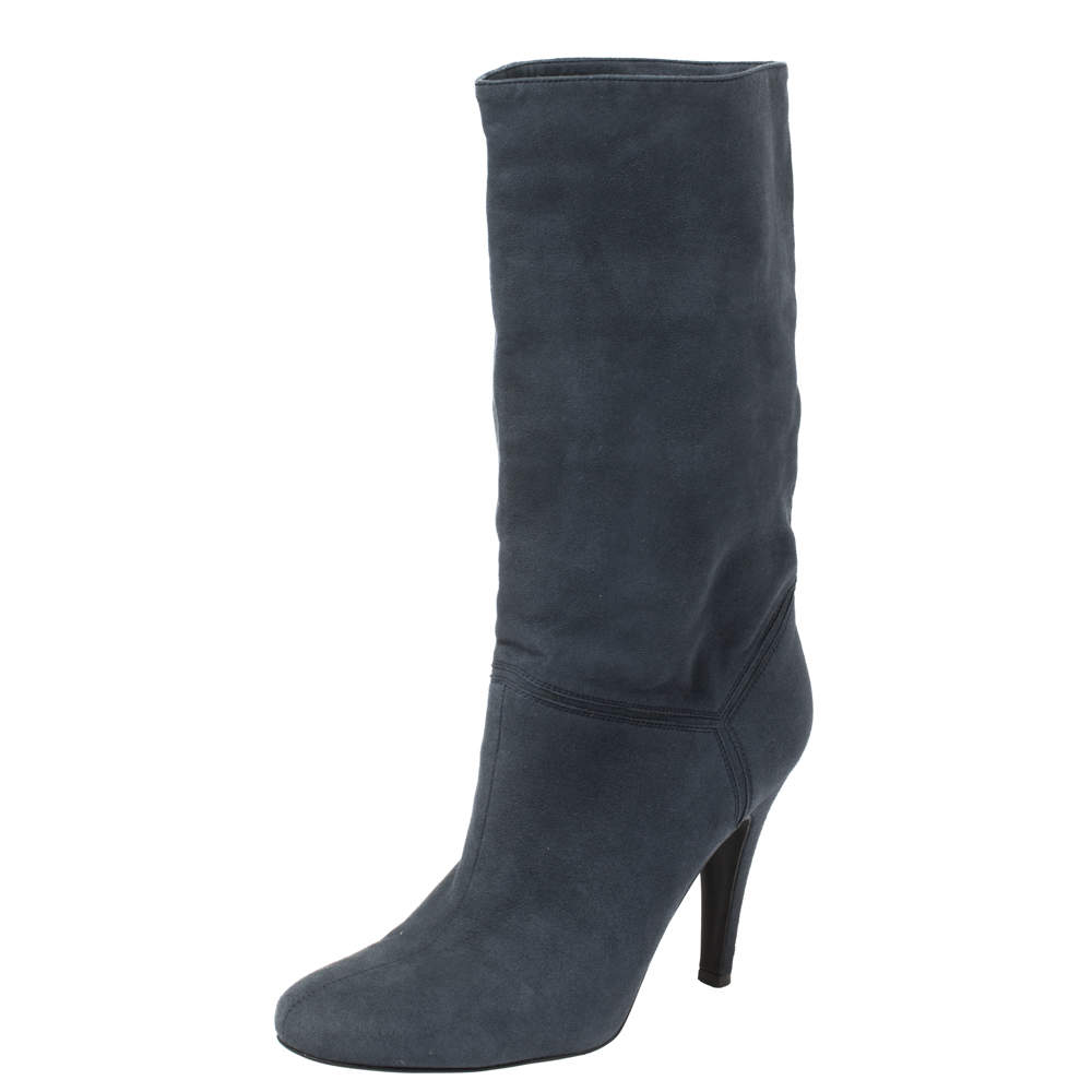 Stella McCartney Navy Blue Faux Suede Boots Size 38