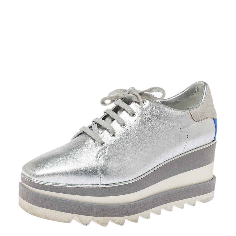 Stella McCartney Metallic Silver Faux Leather Sneak Elyse Platform Derby Sneakers Size 37.5