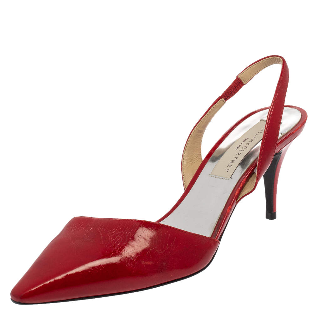 Stella McCartney Red Faux Patent Leather Slingback Pointed Toe Sandals Size 37.5