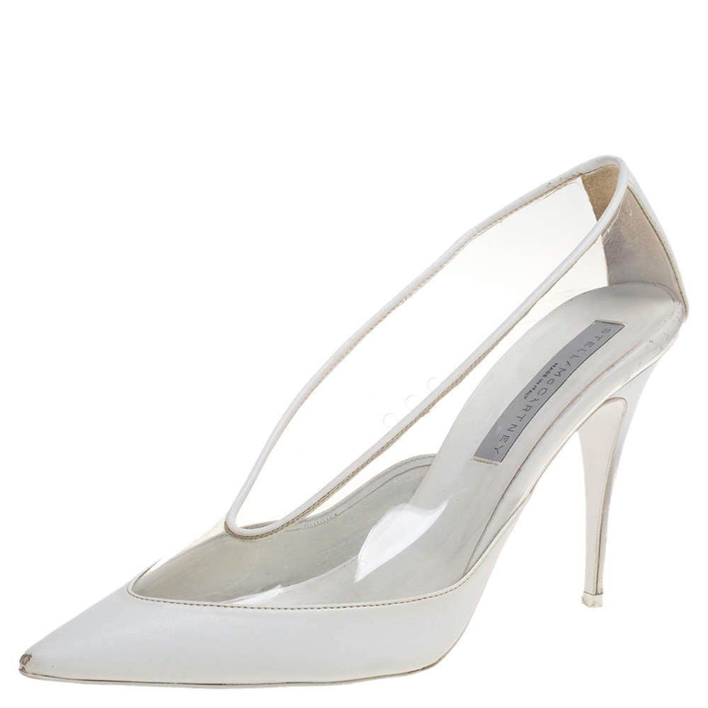 Stella McCartney White Faux Leather And PVC Pointed Toe Pumps Size 40