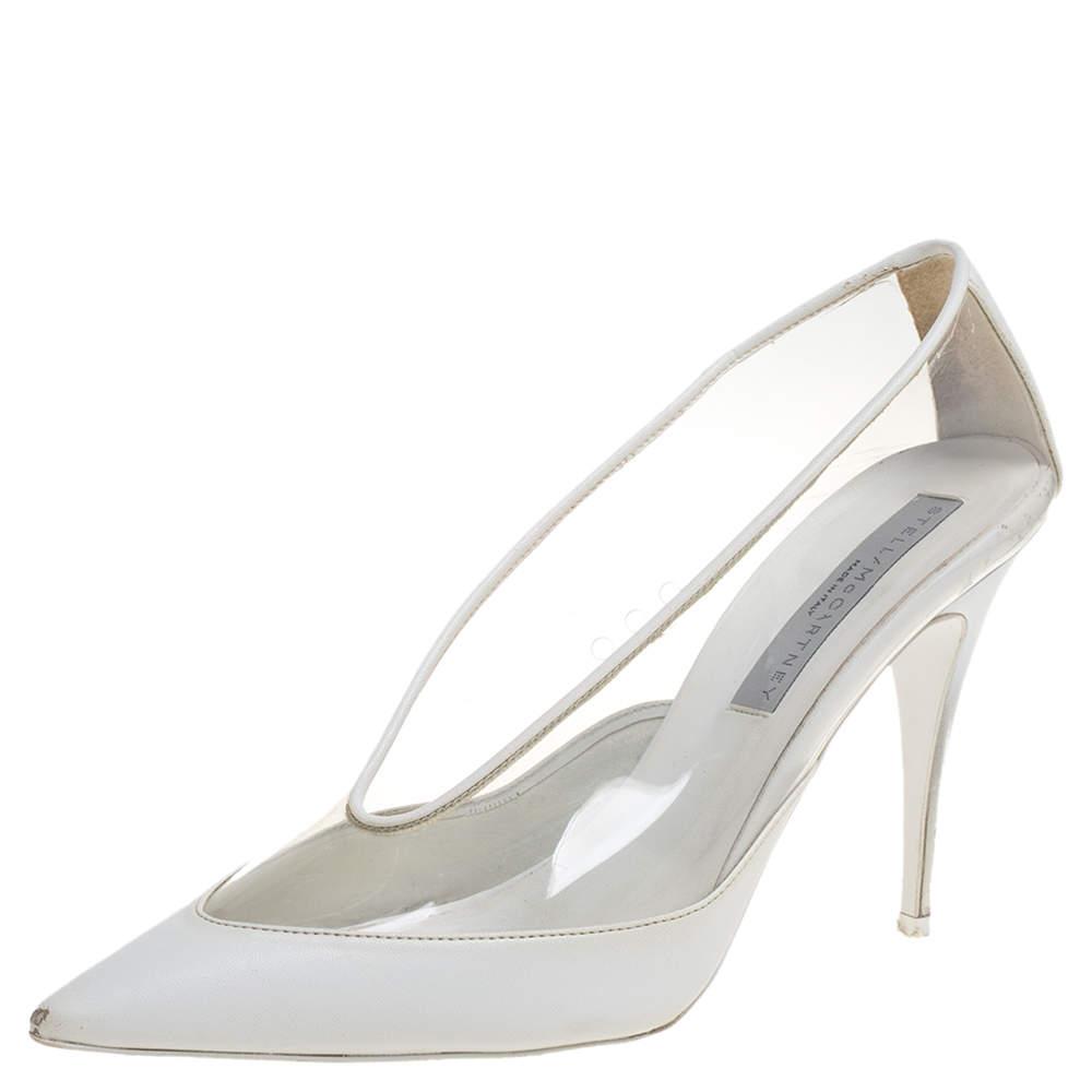 حذاء كعب عالي ستيلا مكارتني مقدمة مدببة بلاستيك مشمع و جلد صناعي أبيض مقاس 40