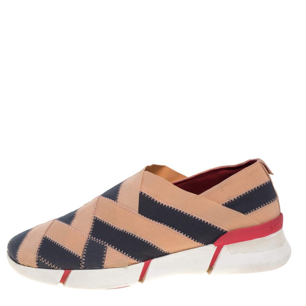 Stella McCartney Beige/Grey Elastic Slip On Sneakers Size 39