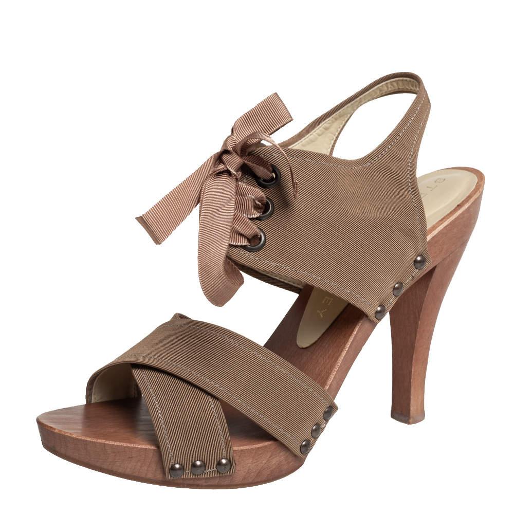 Stella McCartney Brown Fabric Platform Ankle Tie Sandals Size 39