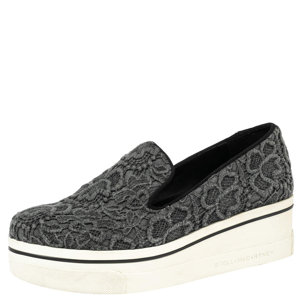 Stella McCartney Grey Embroidered Fabric Lace Slip On  Sneakers Size 38
