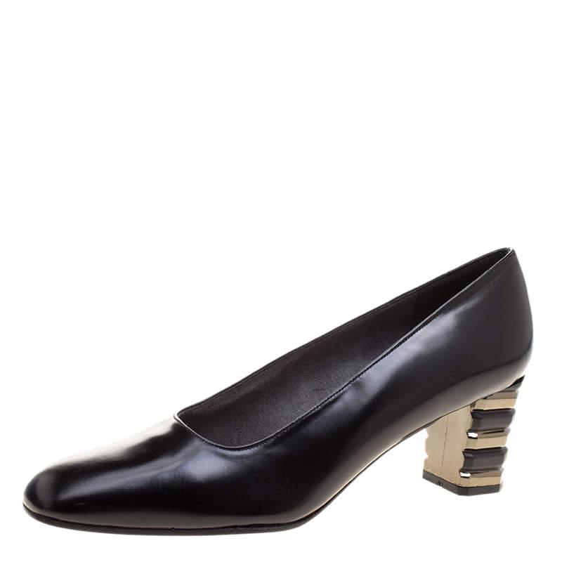 Stuart Weitzman Black Leather Tiered Heel Pumps Size 38.5