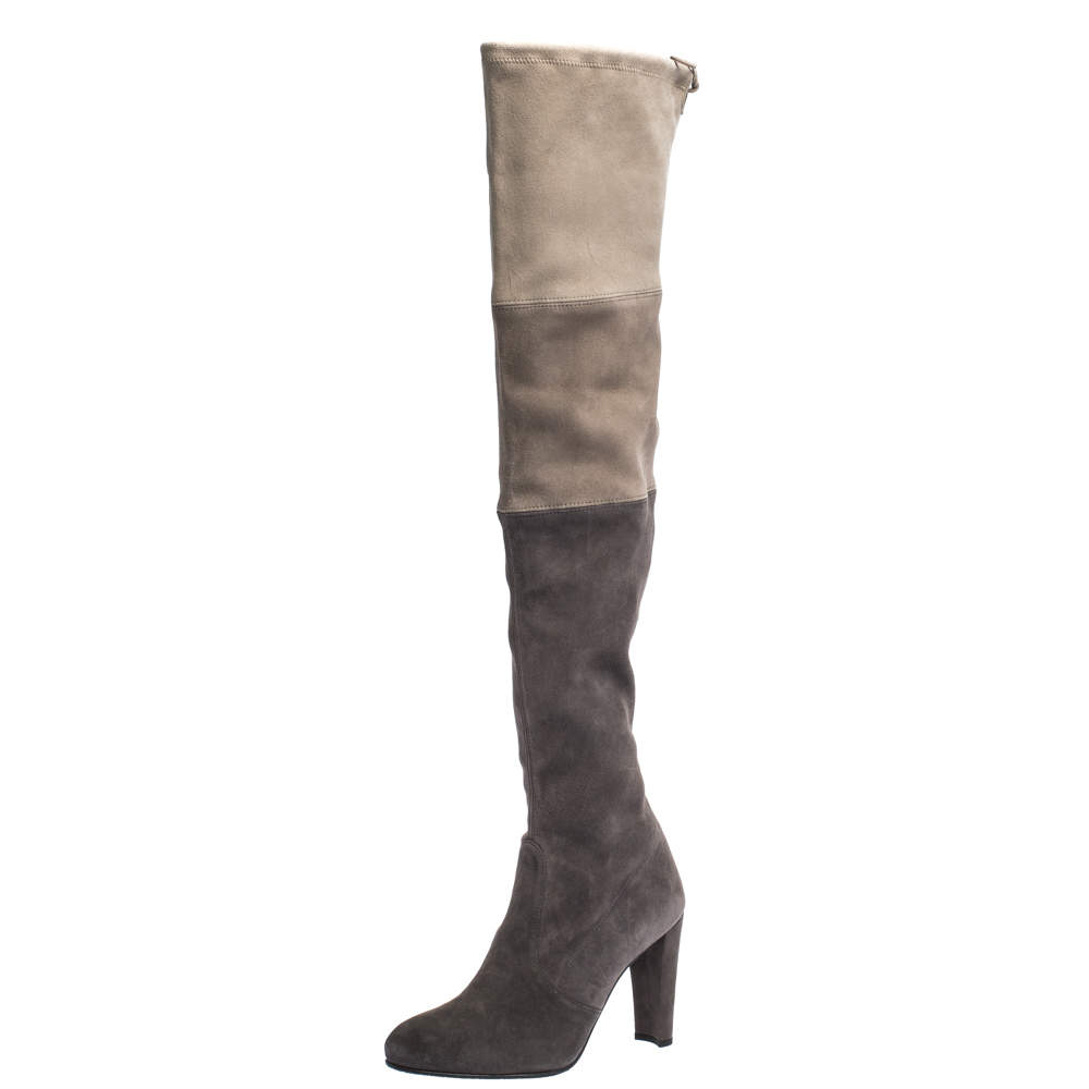 Stuart Weitzman Two Tone Suede Over The Knee Boots Size 38.5