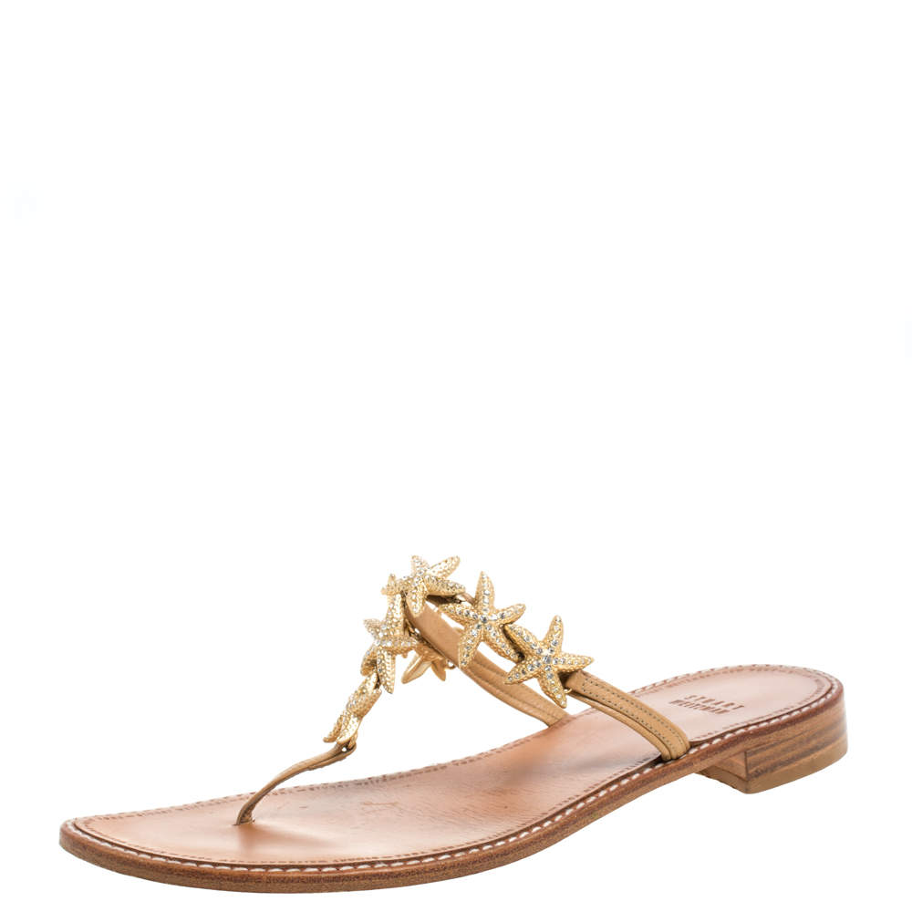 Stuart Weitzman Beige Leather Star Embellished Thong Flats Size 39