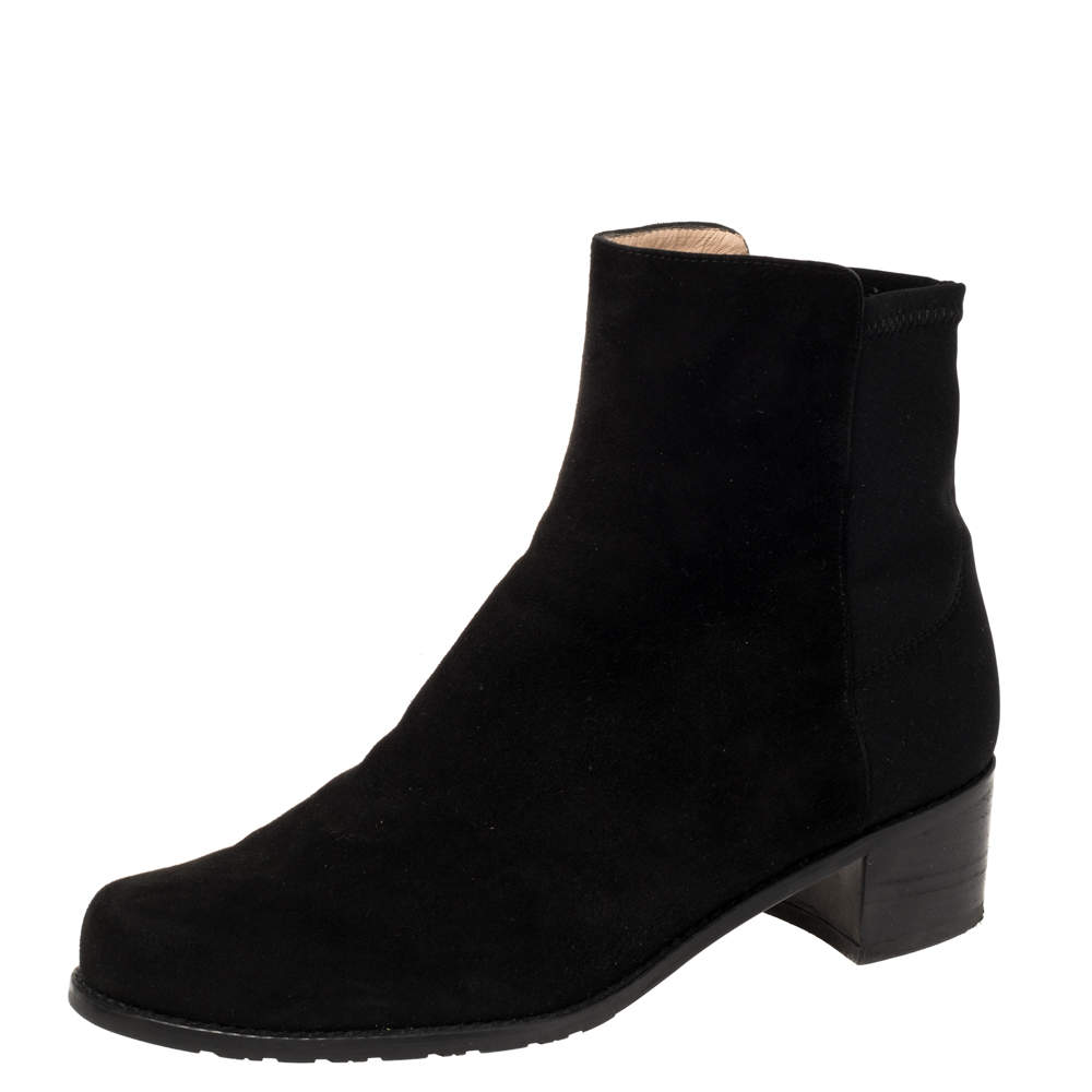 Stuart Weitzman Black Suede And Fabric Ankle Boots Size 38.5