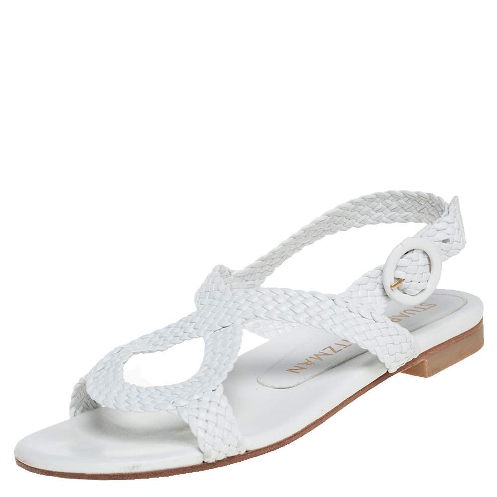 Stuart Weitzman White Braided Leather Theodora Flat Sandals Size 37.5