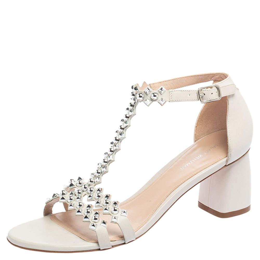 Stuart Weitzman White Leather Studded Sandals Size 40