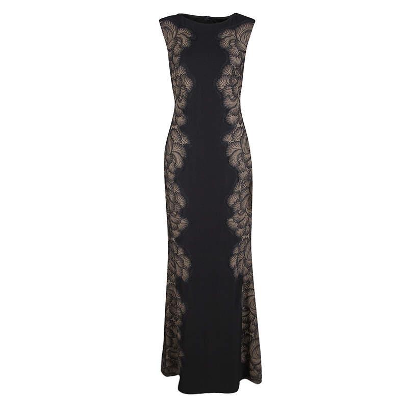 Tadashi Shoji Black Lace Applique Side Panel Detail Sleeveless Gown S