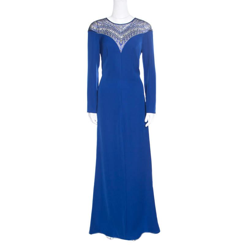 Tadashi Shoji Royal Blue Crepe Embellished Yoke Detail Evening Gown M