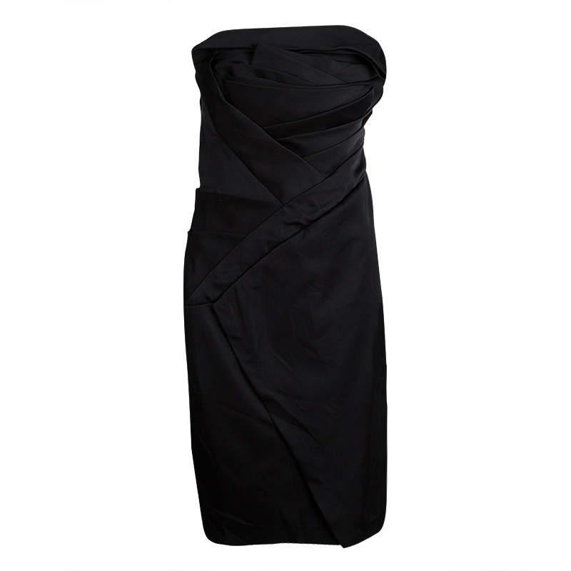 Tadashi Shoji Black Silk Asymmetric Pleat Detail Strapless Dress M