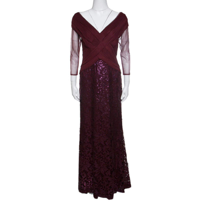 Tadashi Shoji Burgundy Tulle Woven Bodice Sequined Gown S