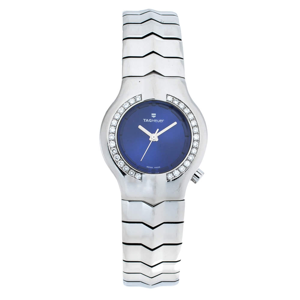 TAG Heuer Blue Stainless Steel Diamond Alter Ego WP1316 Women's Wristwatch 29 mm