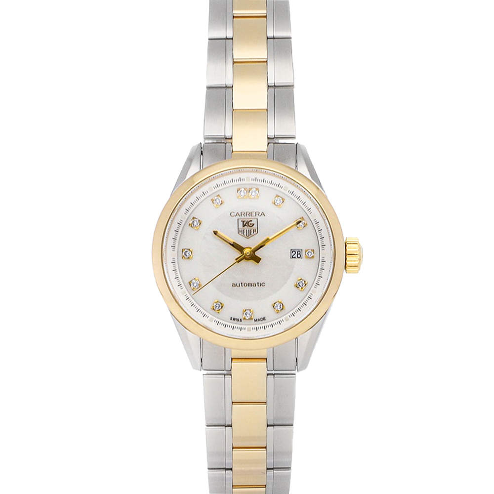 Tag Heuer MOP Diamonds 18K Yellow Gold And Stainless Steel Carrera WV2450.BD0797 Women's Wristwatch 27 MM