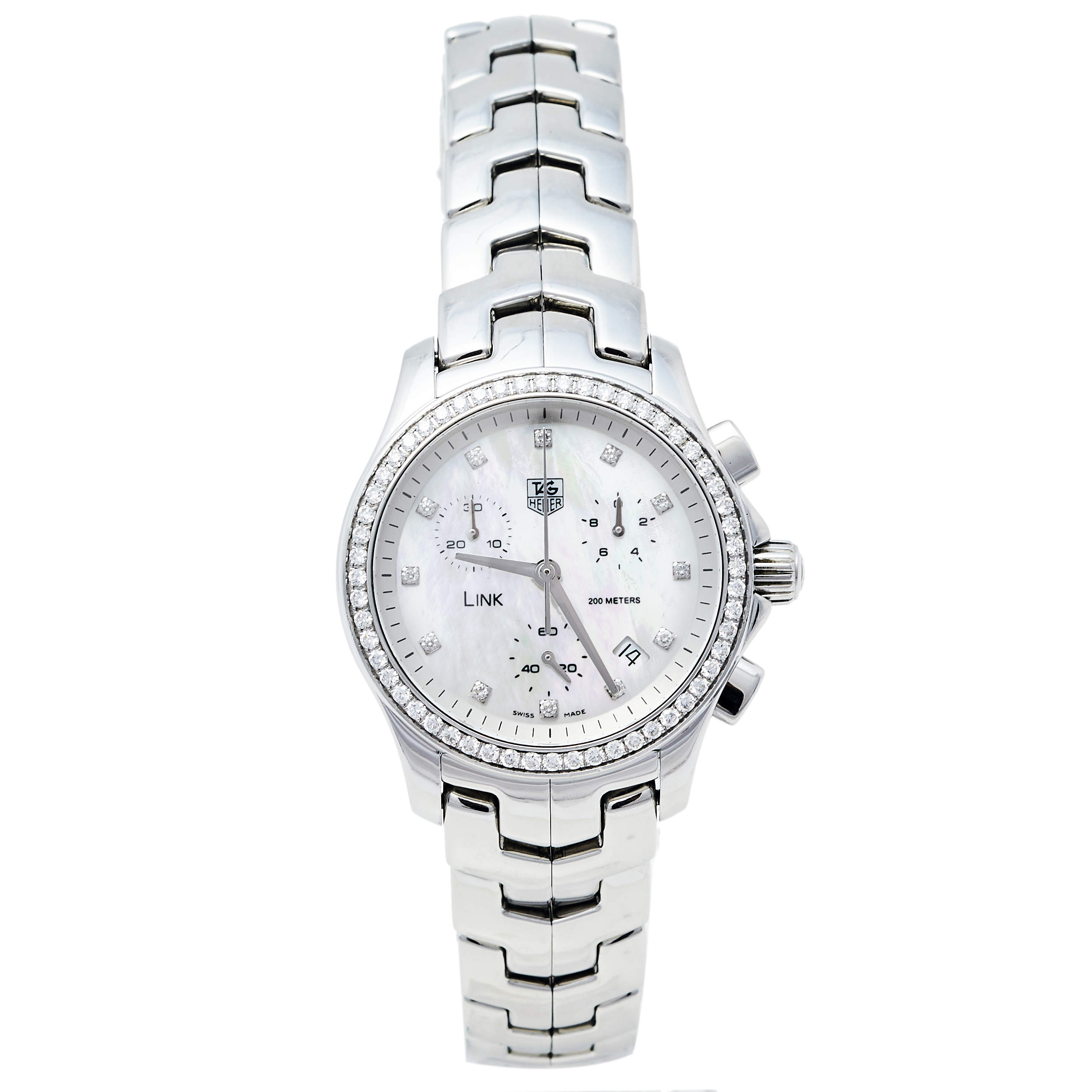 Tag Heuer Mother Of Pearl Stainless Steel Diamonds Link CJF1314.BA0580 Women's Wristwatch 33 mm