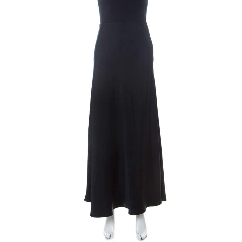 The Row Black Crepe Fluted Hem Annistyn Skirt XS