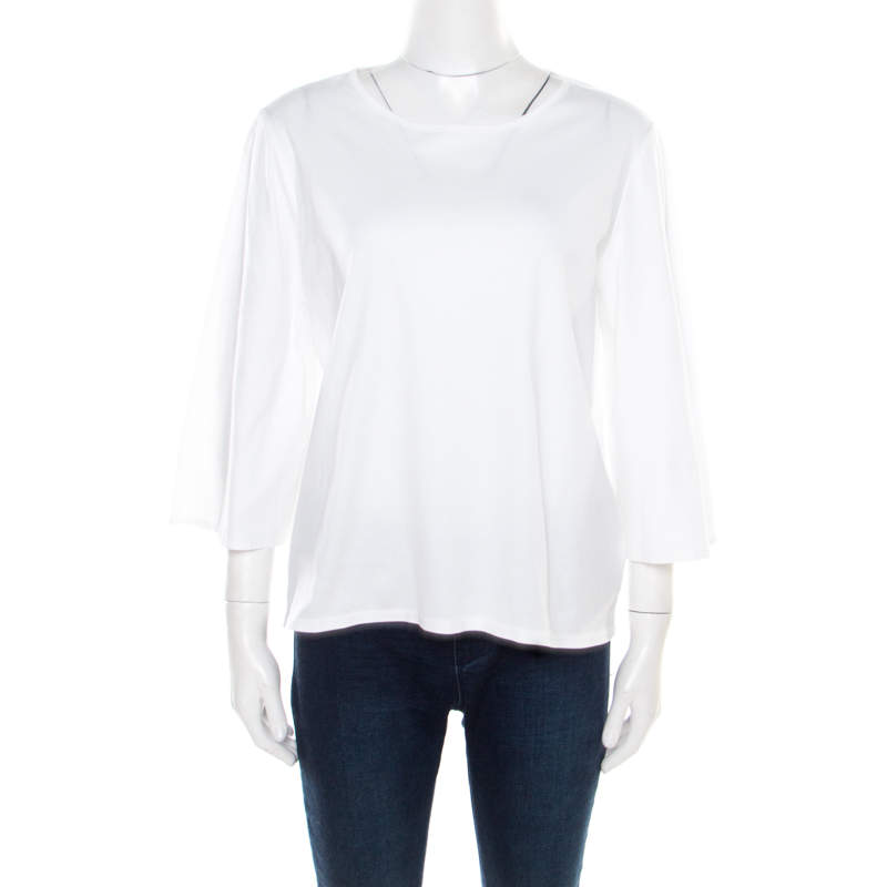 The Row White Cotton Jersey Bell Sleeve T-Shirt M