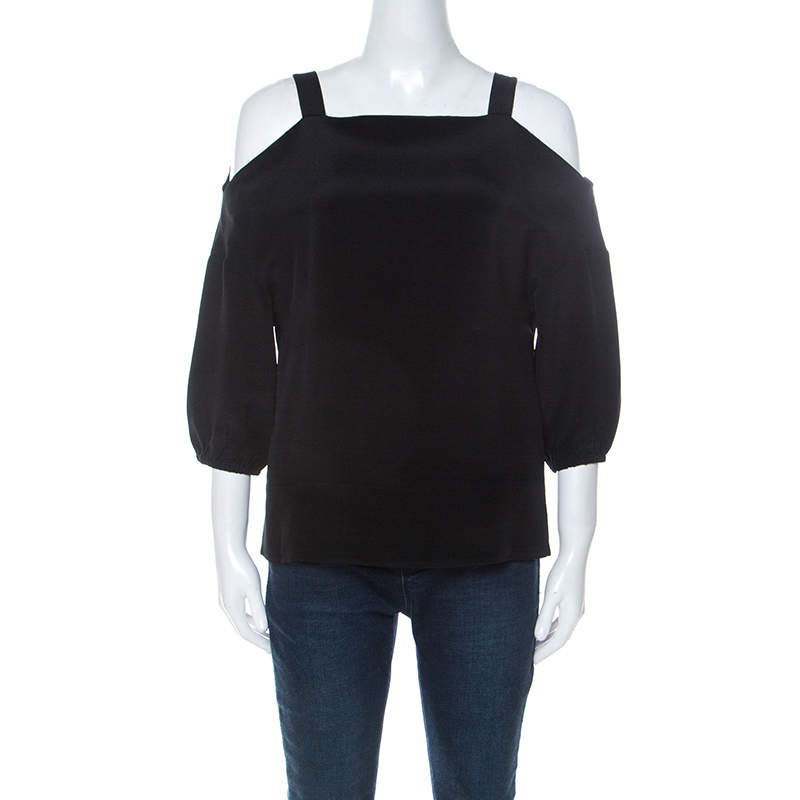 Tibi Black Silk Cut Out Shoulder Tunic Top XS