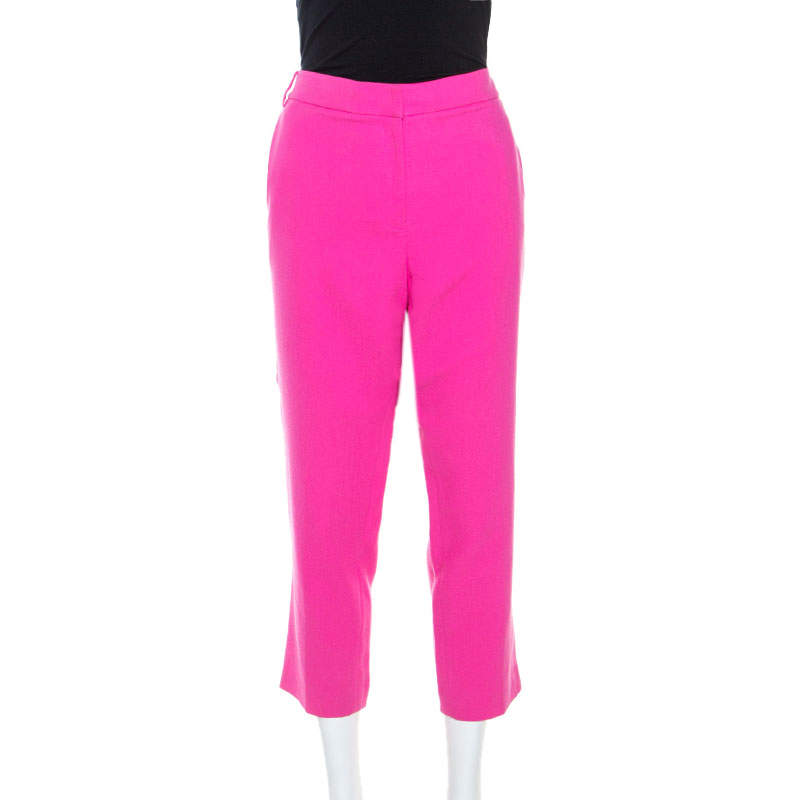 Tibi Pink Cotton Crepe Willa Cropped Pants L