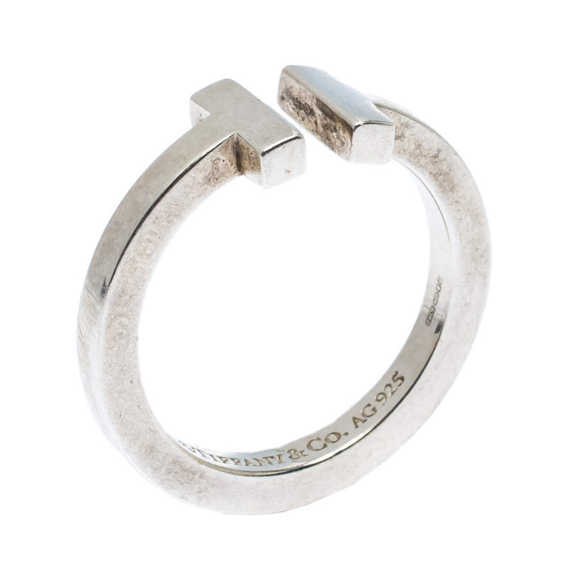Tiffany & Co. Sterling Silver T Square Open Ring Size 56