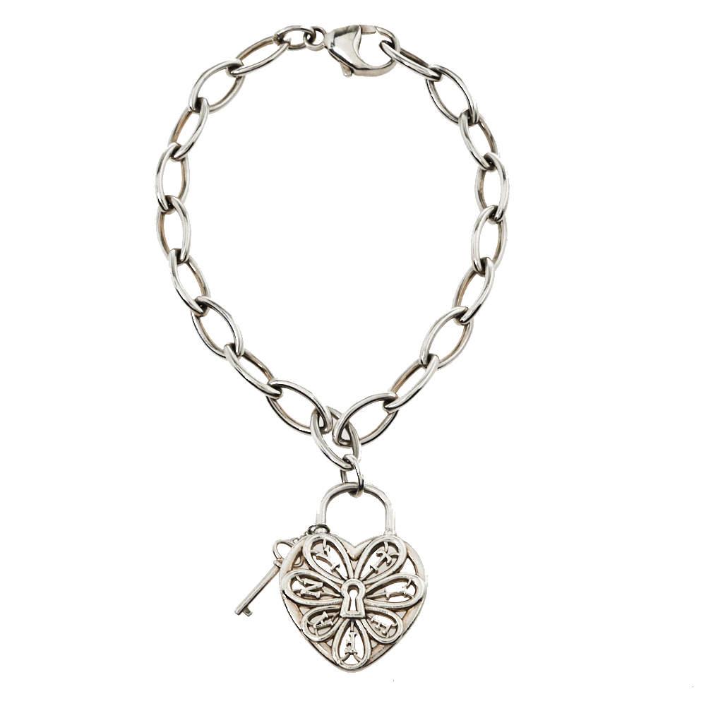 Tiffany & Co. Sterling Silver Filigree Heart & Lock Charm Bracelet
