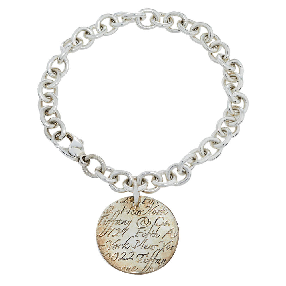 Tiffany & Co. Notes Round Tag Charm Sterling Silver Bracelet