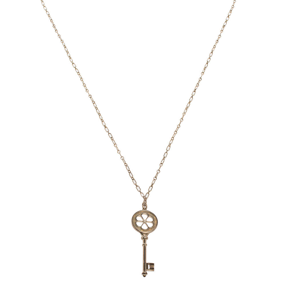 Tiffany & Co. Sterling Silver/Diamond Blossom Large Key Pendant Necklace