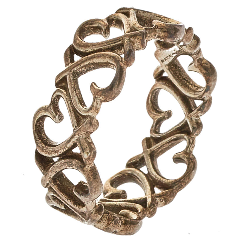 Tiffany & Co. Paloma Picasso Sterling Silver Loving Heart Band Ring Size EU 55
