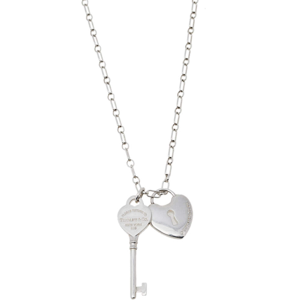 Tiffany & Co. Sterling Silver Heart Lock & Key Charm Pendant Necklace