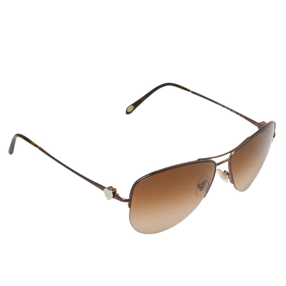 Tiffany & Co. Silver Tone/ Brown Gradient TF3021 Aviator Sunglasses