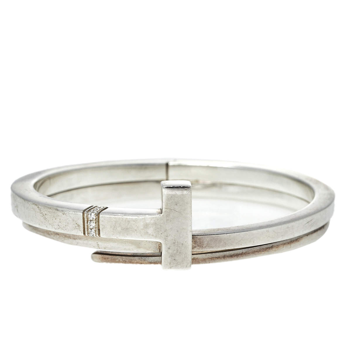 Tiffany & Co. Sterling Silver Diamonds T Square Wrap Bracelet