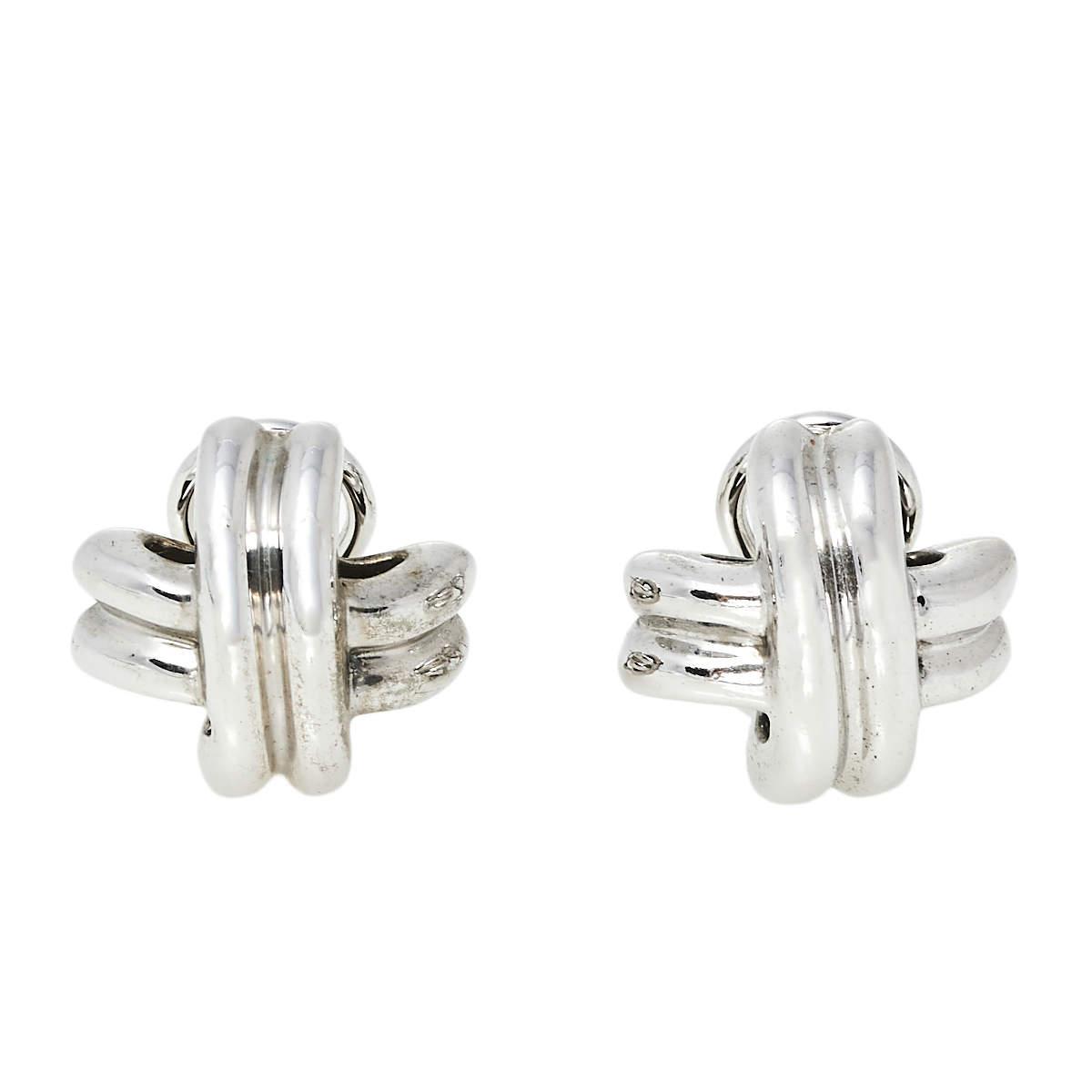 Tiffany &Co. Vintage X Sterling Silver Stud Earrings