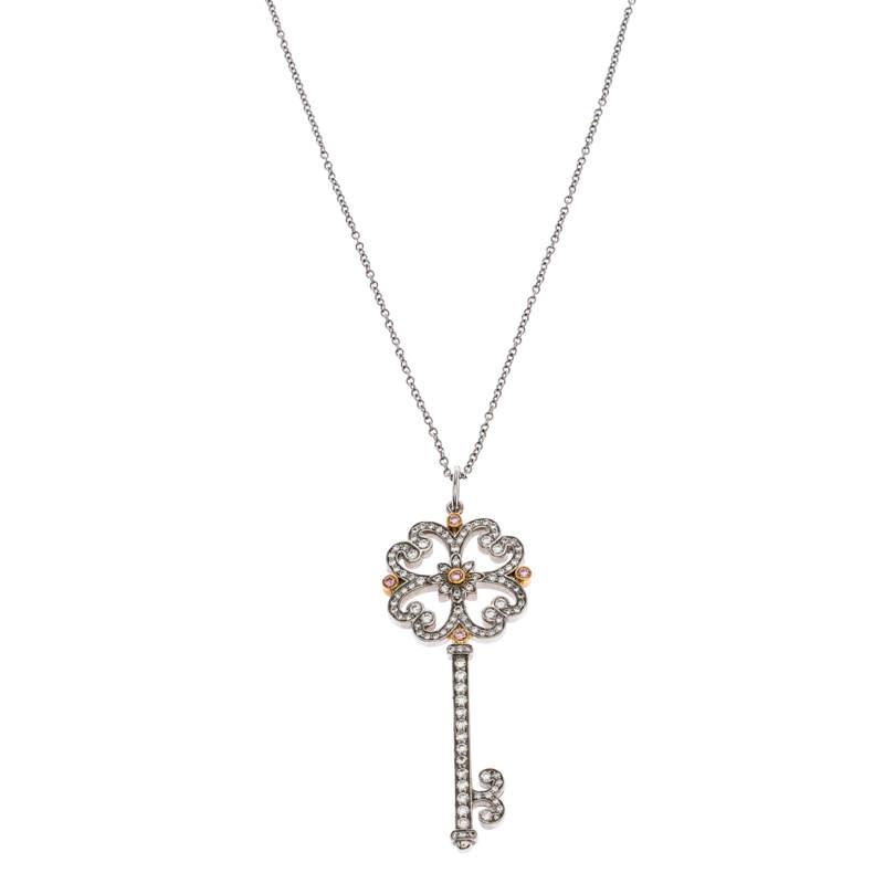 Tiffany & Co. Tiffany Enchant Diamond Platinum & 18K Gold Quatra Heart Key Pendant Necklace