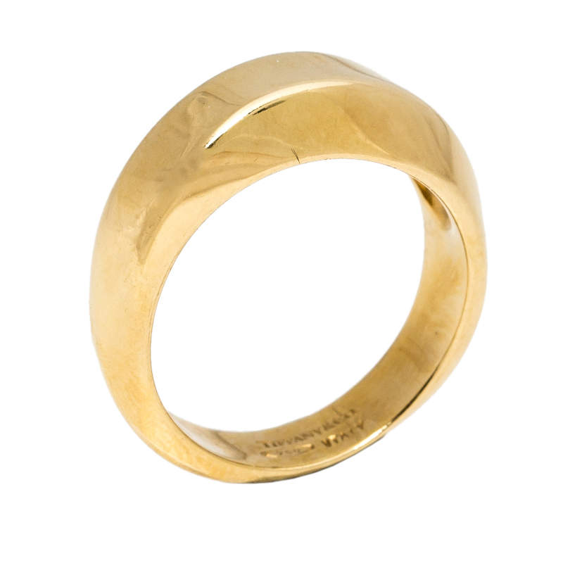 Tiffany & Co. Textured 18K Yellow Gold Band Ring Size 49