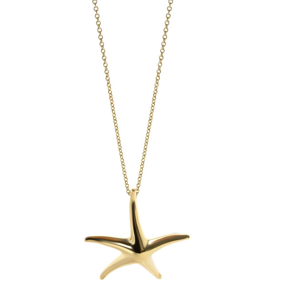Tiffany & Co. Elsa Peretti Starfish 18K Yellow Gold Pendant Necklace