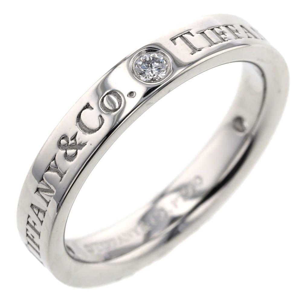 Tiffany & Co. Flat Band Platinum Diamond Ring Size 45