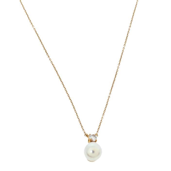 Tiffany & Co Diamond Cultured Pearl 18K Yellow Gold Pendant Necklace