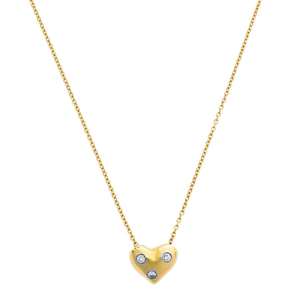 Tiffany & Co. Etoile Diamond Heart Motif 18K Yellow Gold Platinum Pendant Necklace