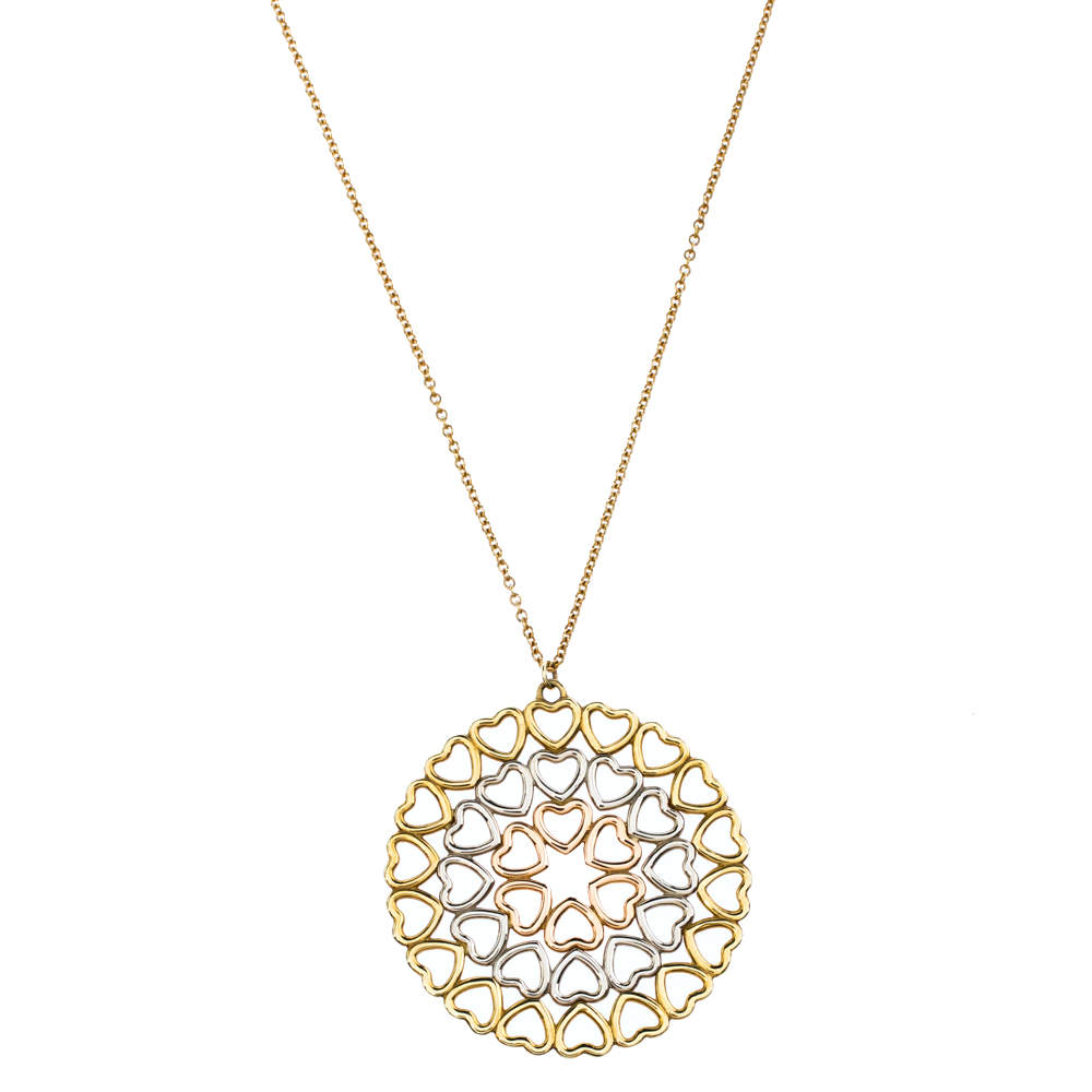 Tiffany & Co. Paloma Picasso Crown of Hearts 18K Three Tone Gold Medallion Pendant Necklace