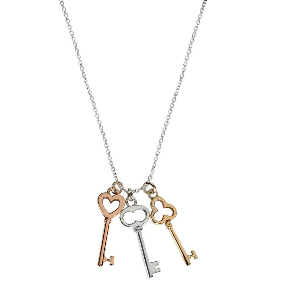 Tiffany & Co. Mini Keys Sterling Silver 18K Gold Necklace