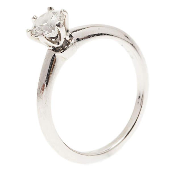 Tiffany & Co. H VVS1 Round Brilliant Diamond Solitaire Ring Size 52.5