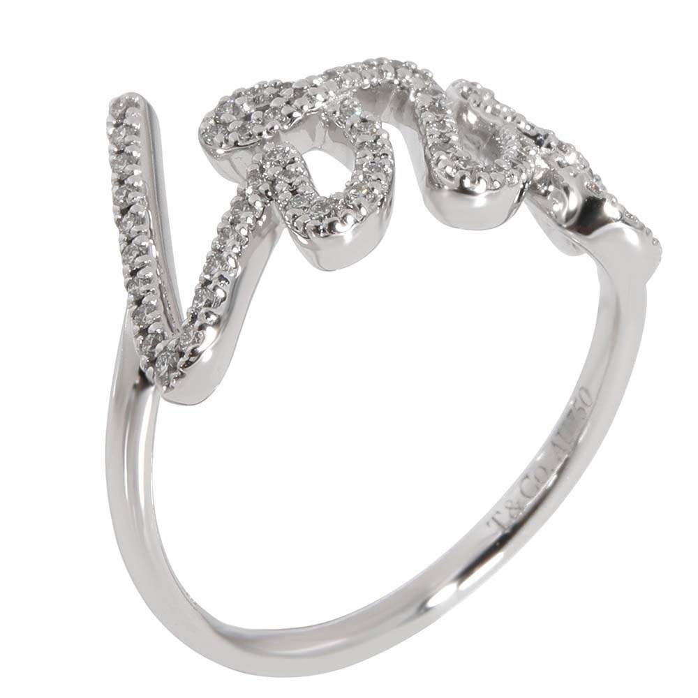 Tiffany & Co. Paloma's Graffiti Diamond 18K White Gold Ring Size EU 49