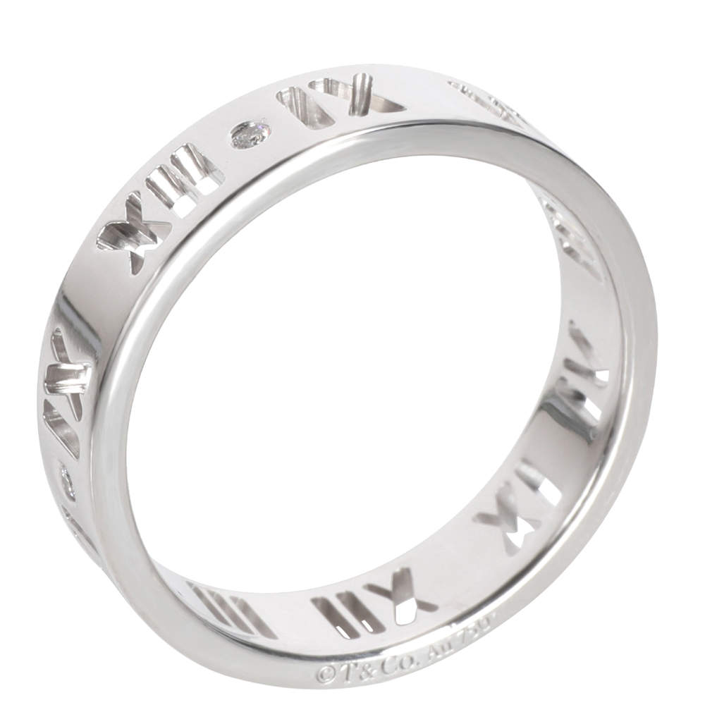 Tiffany & Co. Pierced Diamond Atlas 18K White Gold Ring Size EU 55