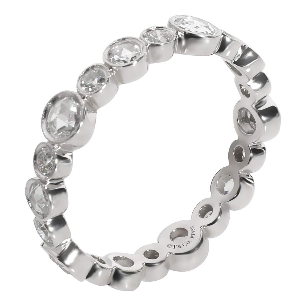 Tiffany & Co. Platinum Cobblestone Diamond Band Ring Size EU 52